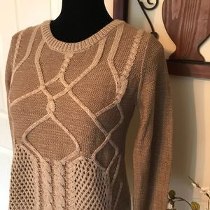 Tan Cable Knit Crewneck Sweater with sheer Tank S